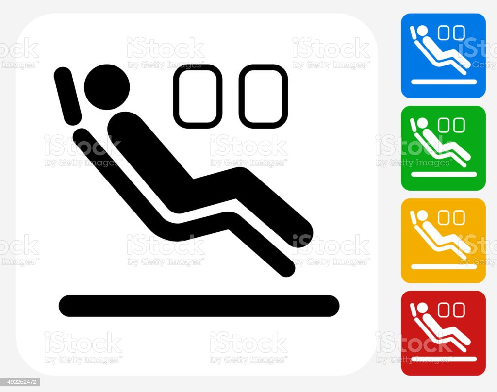 Sitting in Airplane Icon Flat Graphic Design vector art illustration
