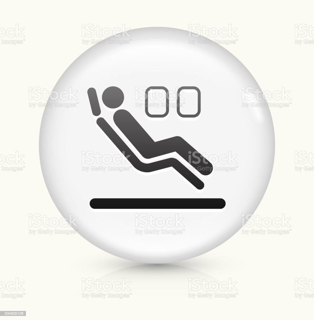 Sitting in Airplane icon on white round vector button vector art illustration