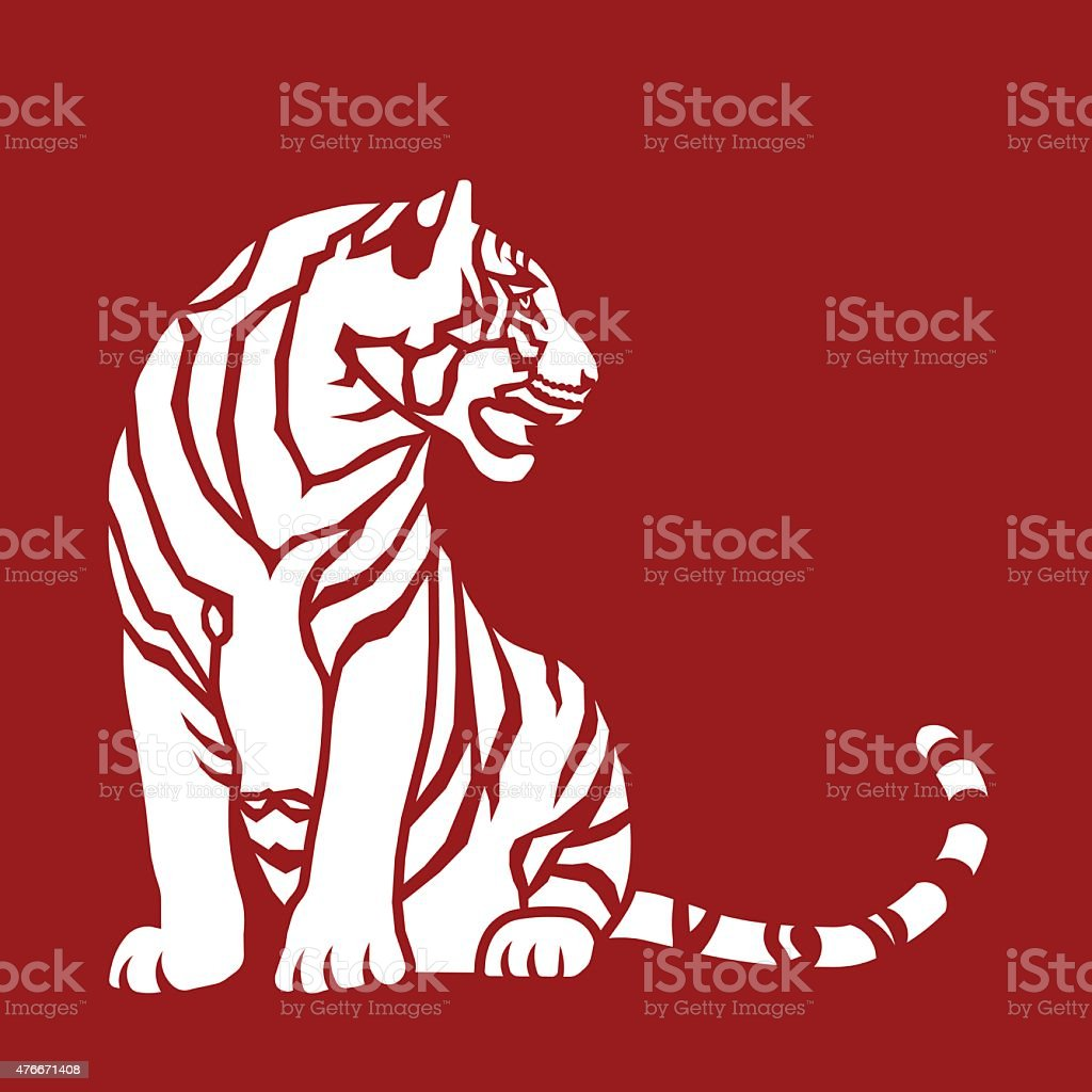 Sitting Tiger vector art illustration