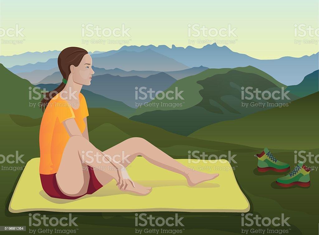sitting tourist girl resting on nature vector art illustration