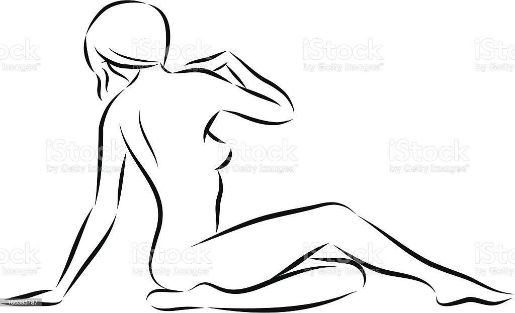 sitting woman 04 vector art illustration