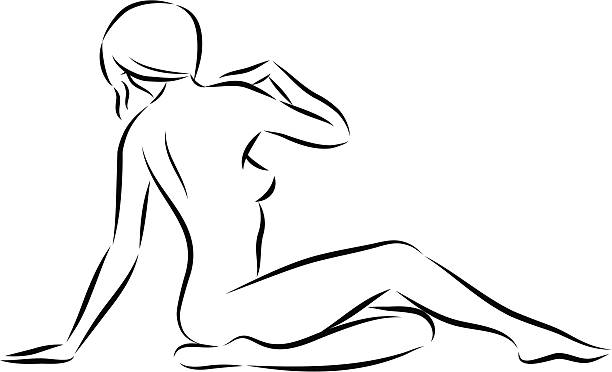 Beautiful Healthy Nude Sitting Woman Drawings Clip Art, Vector ...