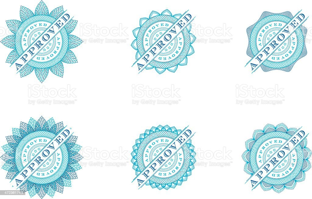 Six Approved Seals - Vector royalty-free stock vector art