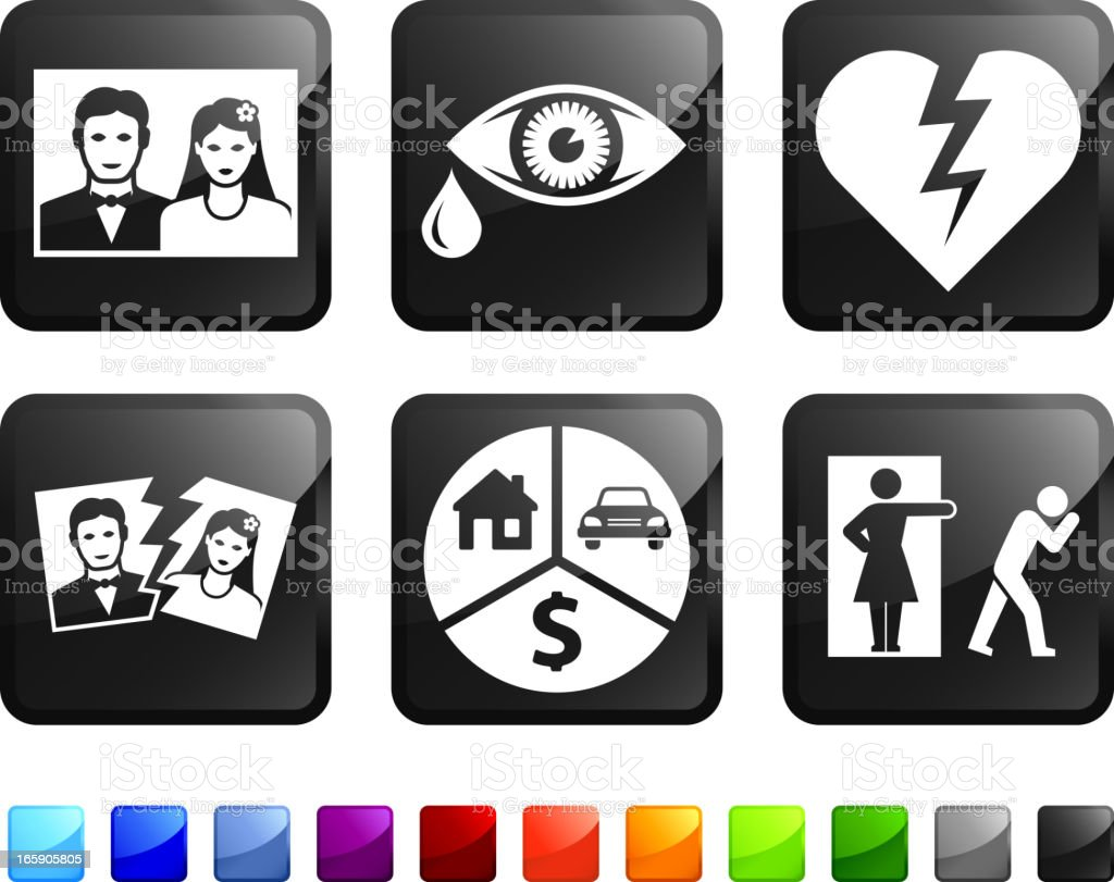 Six, black square stickers with divorce themed pictures.  vector art illustration