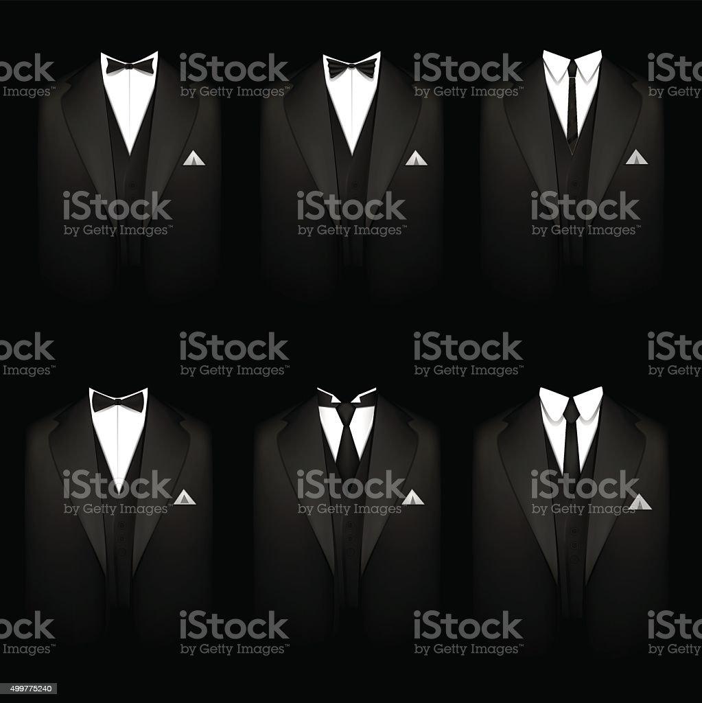 Six black tuxedos vector art illustration