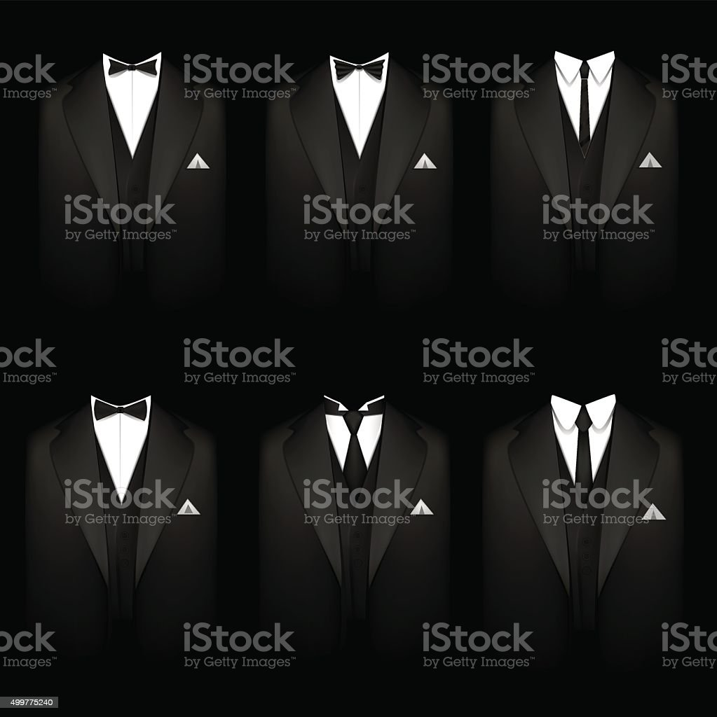 Six black tuxedos vector art illustration