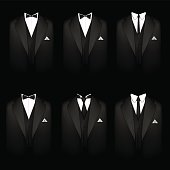 Six black tuxedos
