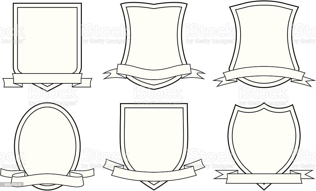 Six blank vectors depicting coats of arms  royalty-free stock vector art