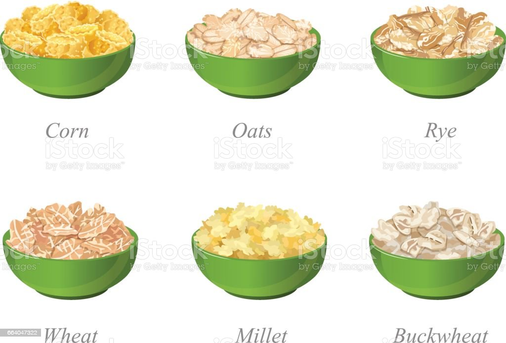 Six bowls with different cereal flakes part one vector art illustration