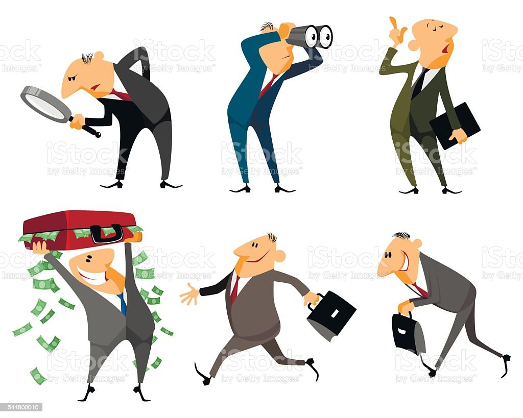 Six businessmen set vector art illustration