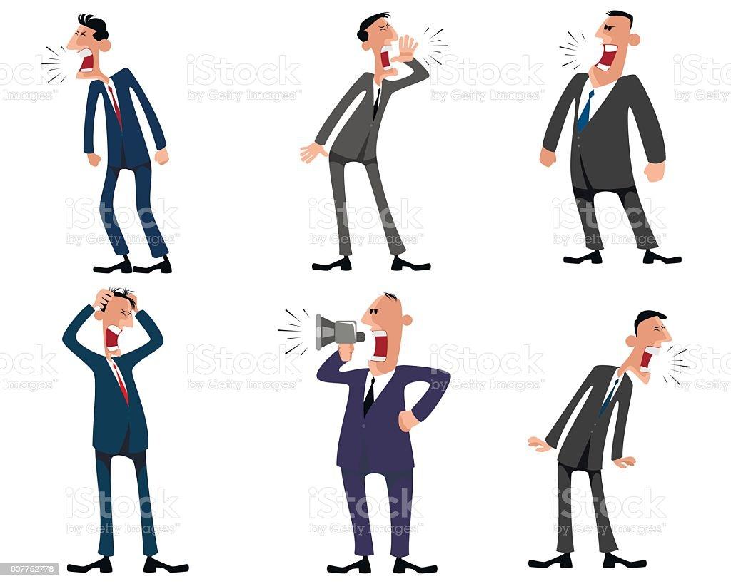 Six businessmen set vector art illustration