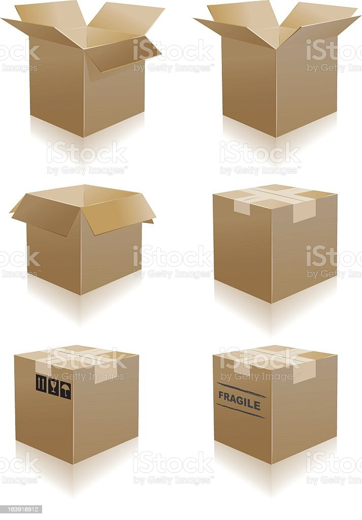 Six cardboard boxes in varying positions vector art illustration