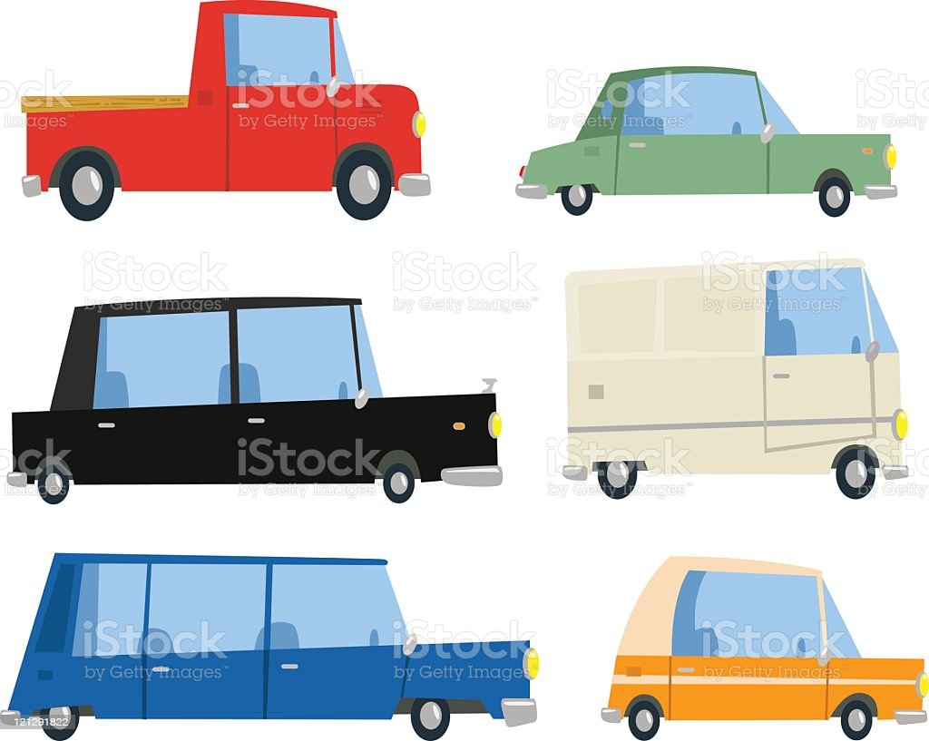 Six Cartoon Cars vector art illustration