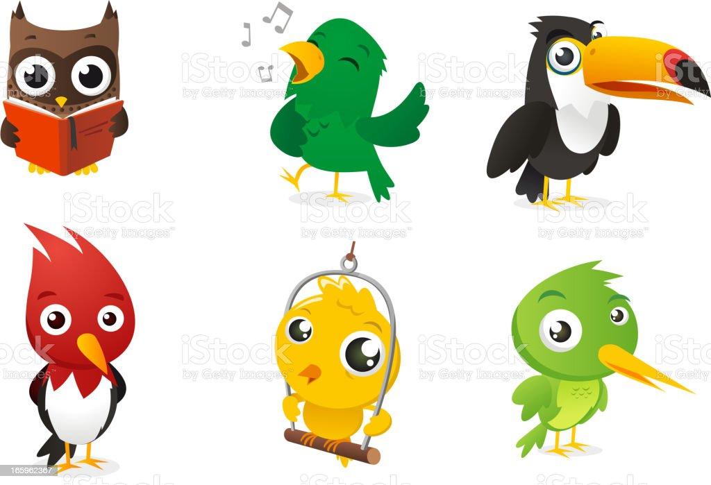 Seis De Dibujos Animados De Aves De Color Completo