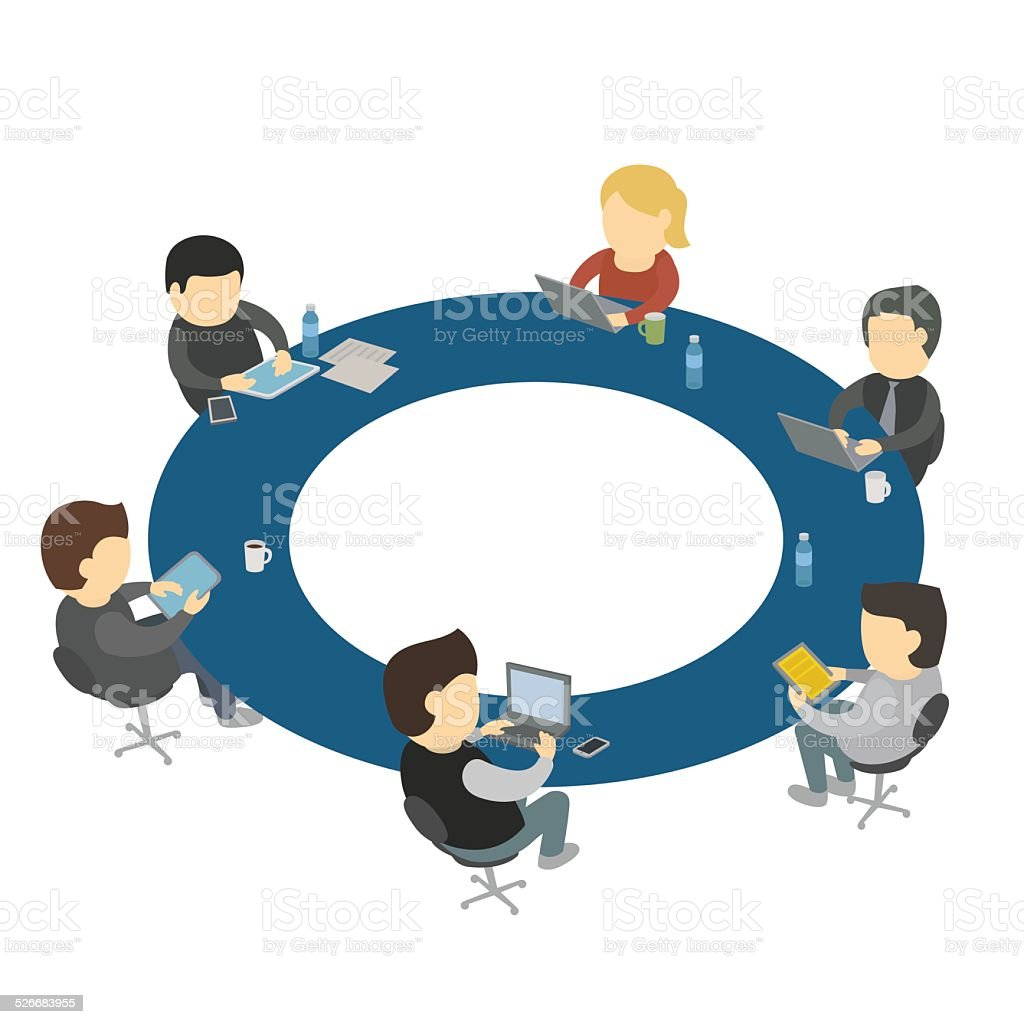 Seis de dibujos animados personas de trabajo de la mesa - Mesa redonda 4 personas ...