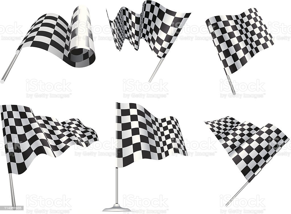 Six checkered flags symbolic of racing cars  vector art illustration
