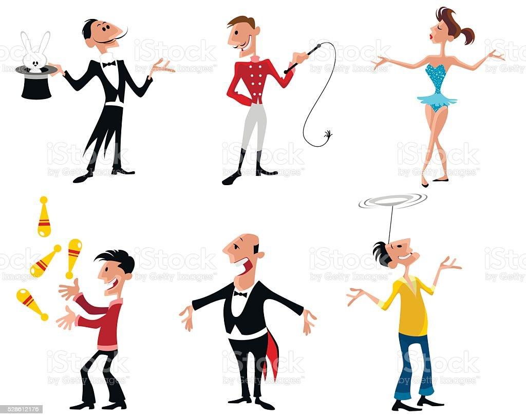 Six circus artist vector art illustration