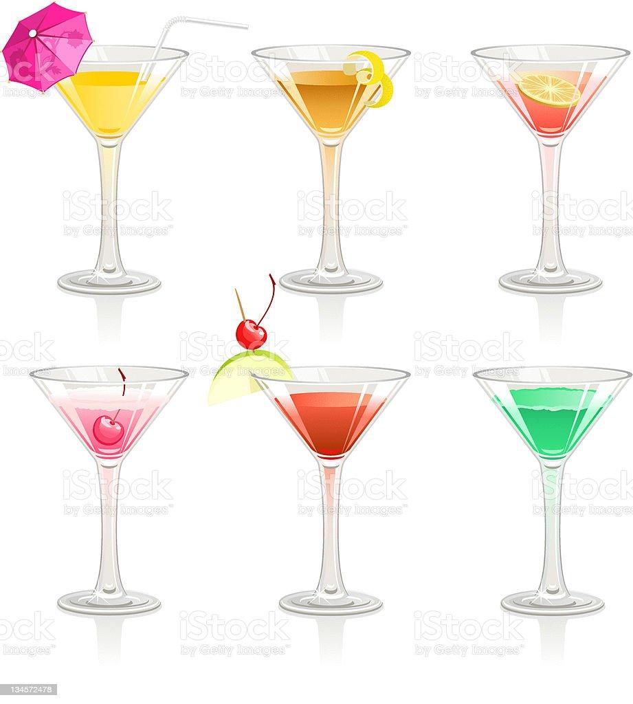 Six cocktails vector art illustration