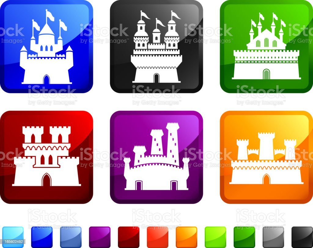 Six colored stickers with different castles on each. royalty-free stock vector art