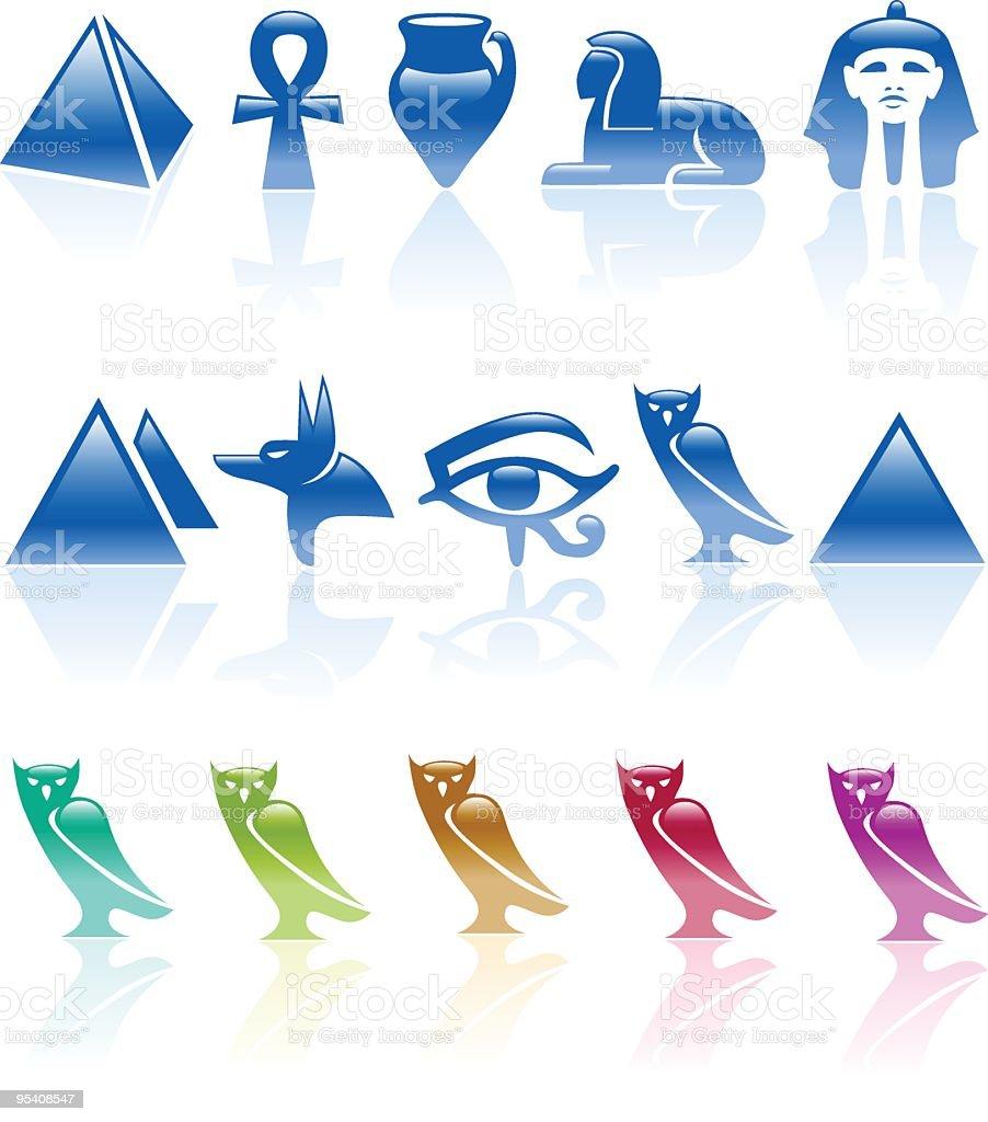 Six colour egypt icons royalty-free stock vector art