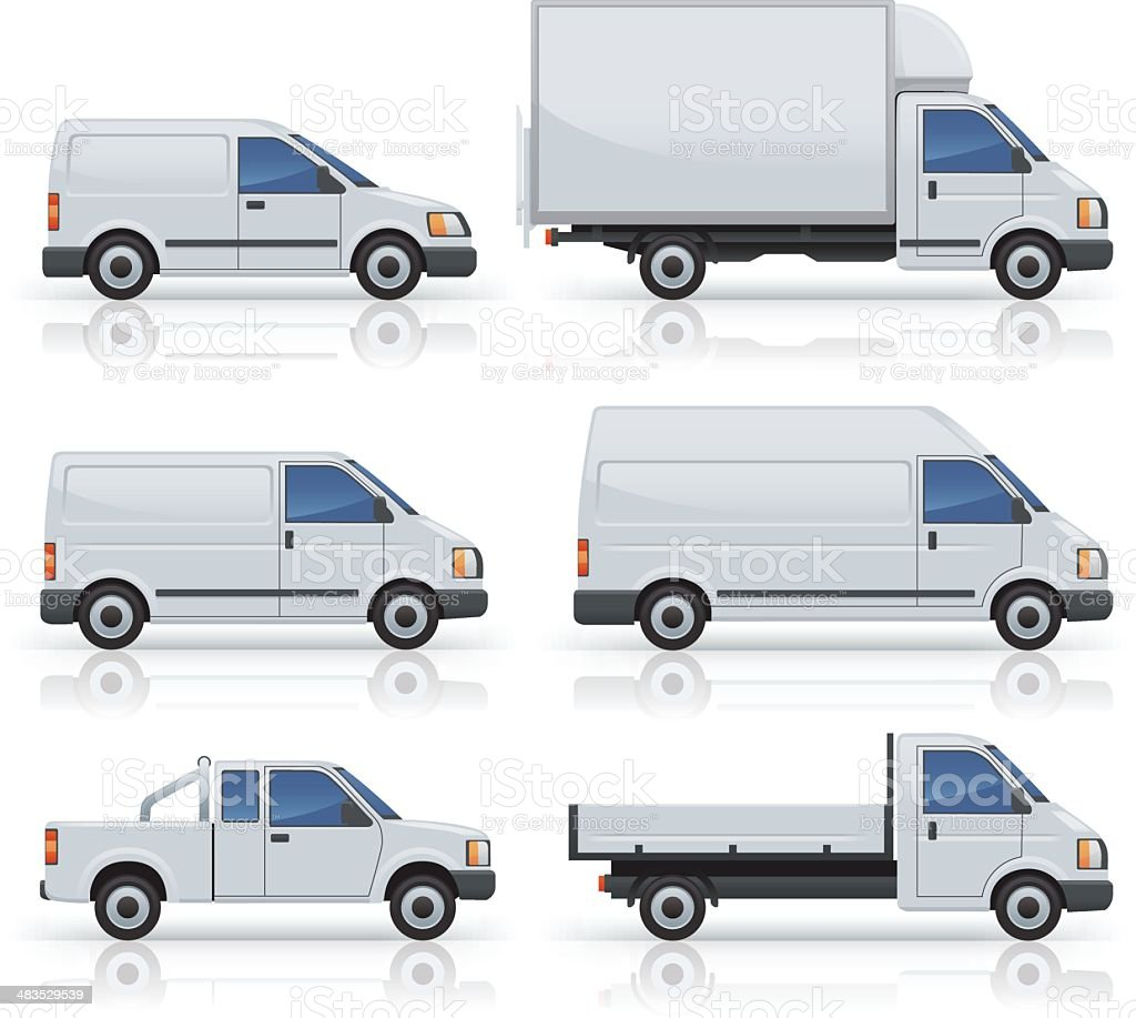 Six commercial van icons silhouetted on white vector art illustration