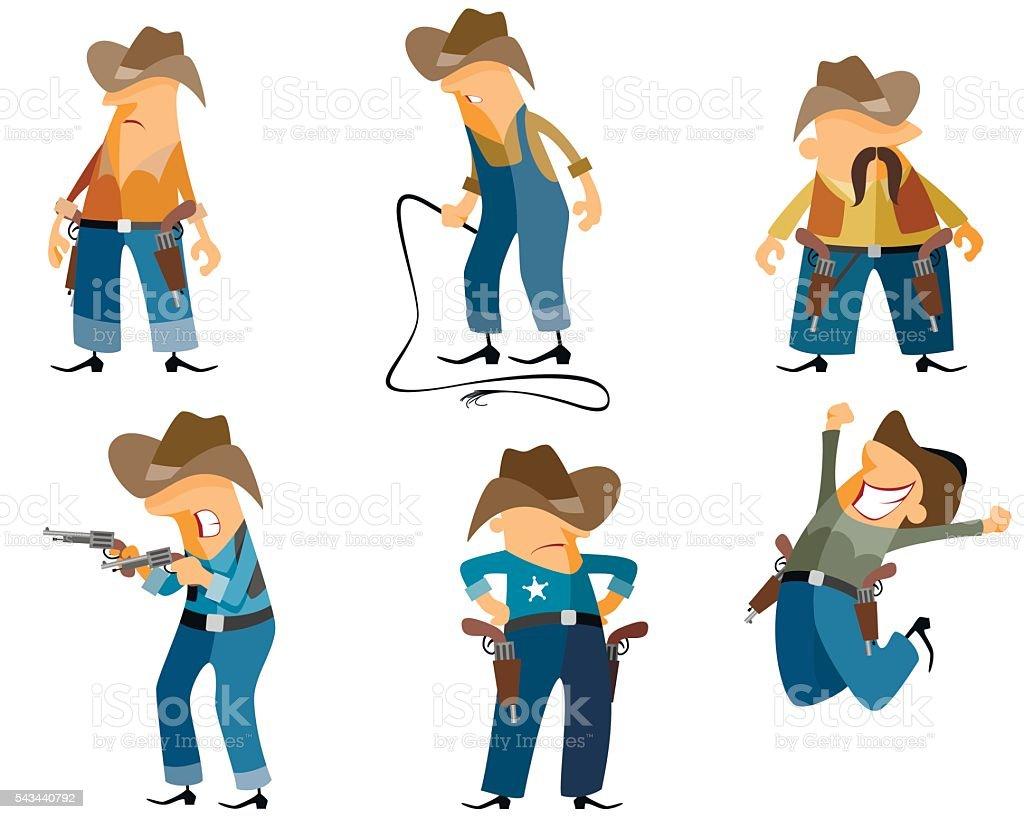 Six cowboys set vector art illustration