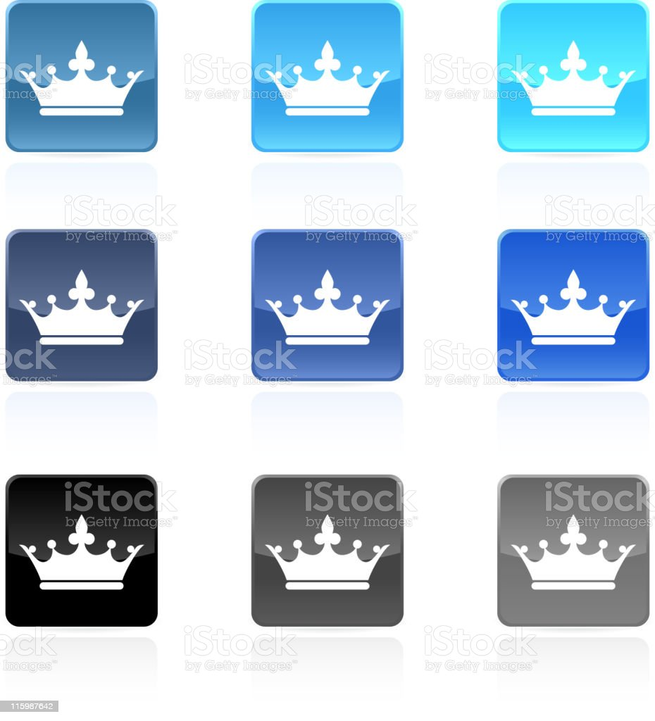 six crown royalty free vector arts buttons in nine colors royalty-free stock vector art