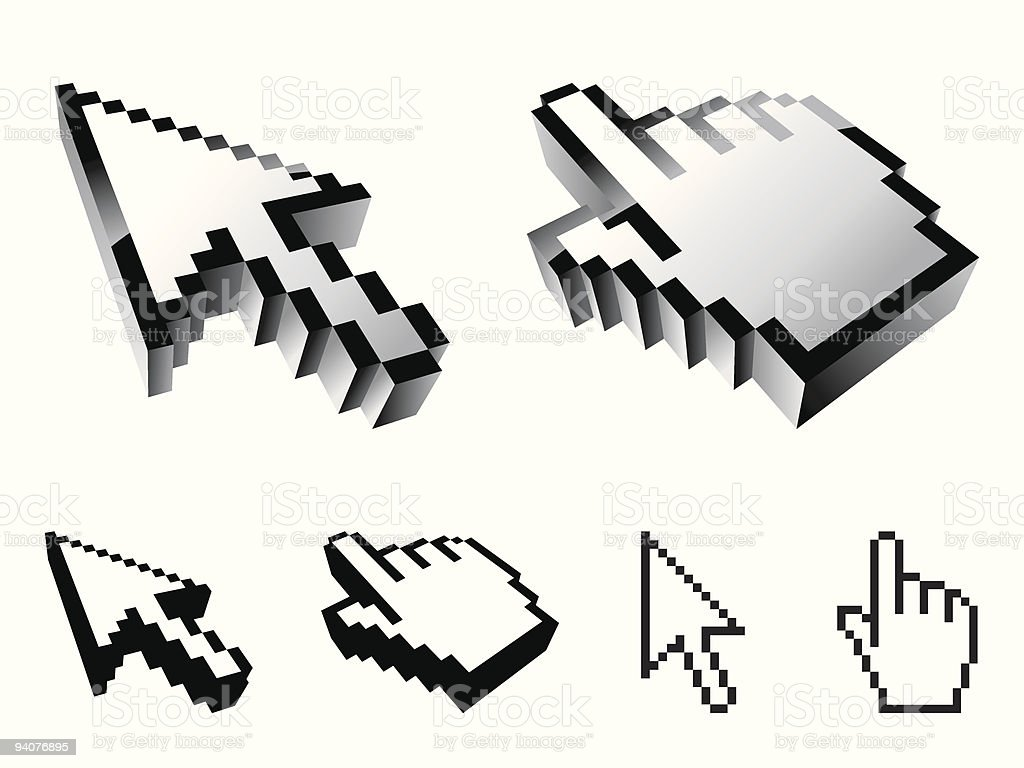 Six cursor icons of different styles royalty-free stock vector art