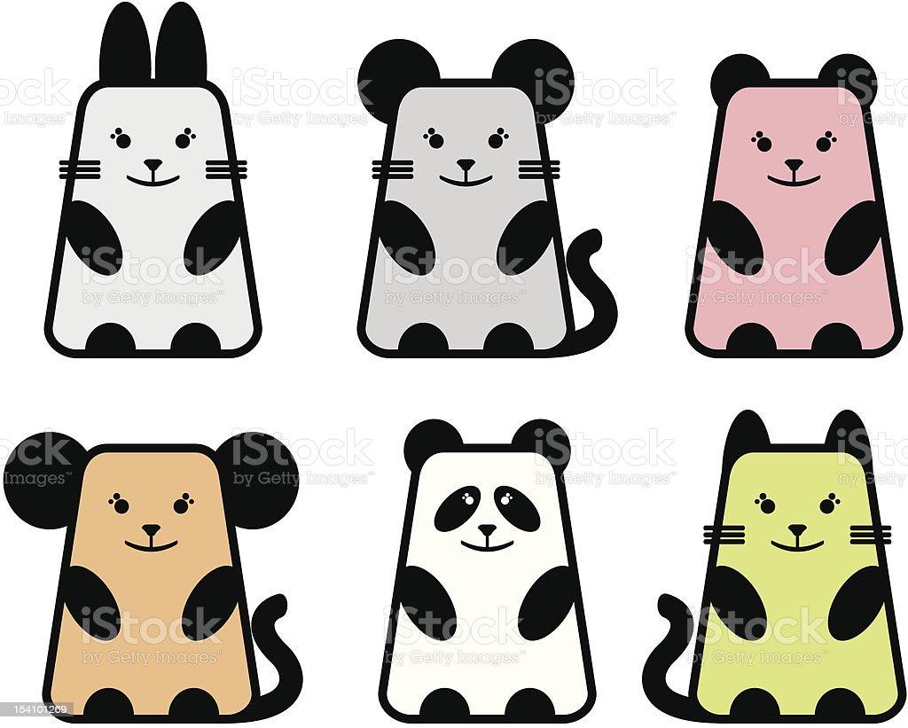 Six cute animals. royalty-free stock vector art