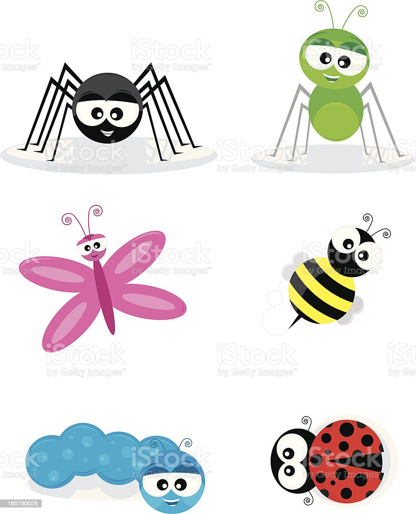 Six Cute Cartoon Insects royalty-free stock vector art
