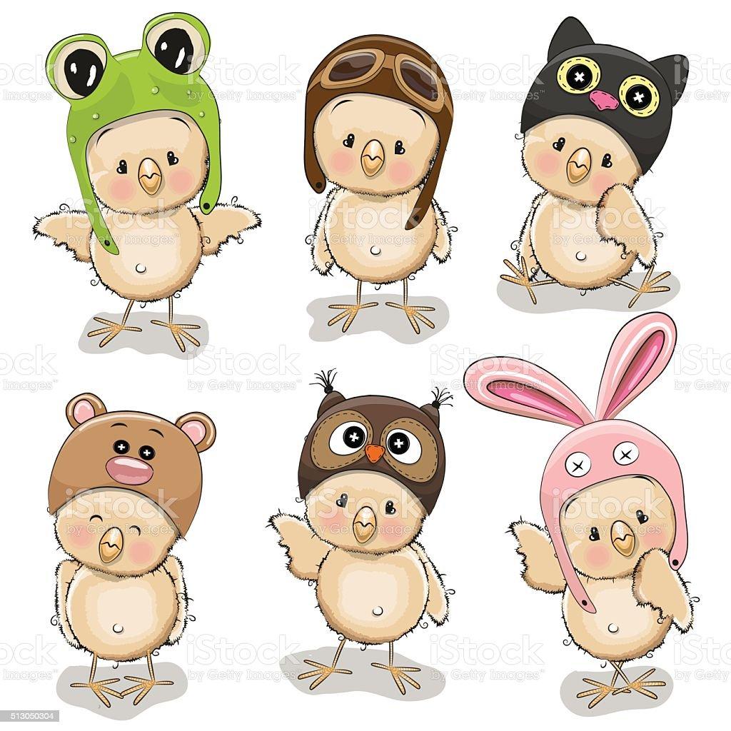 Six cute chicks vector art illustration