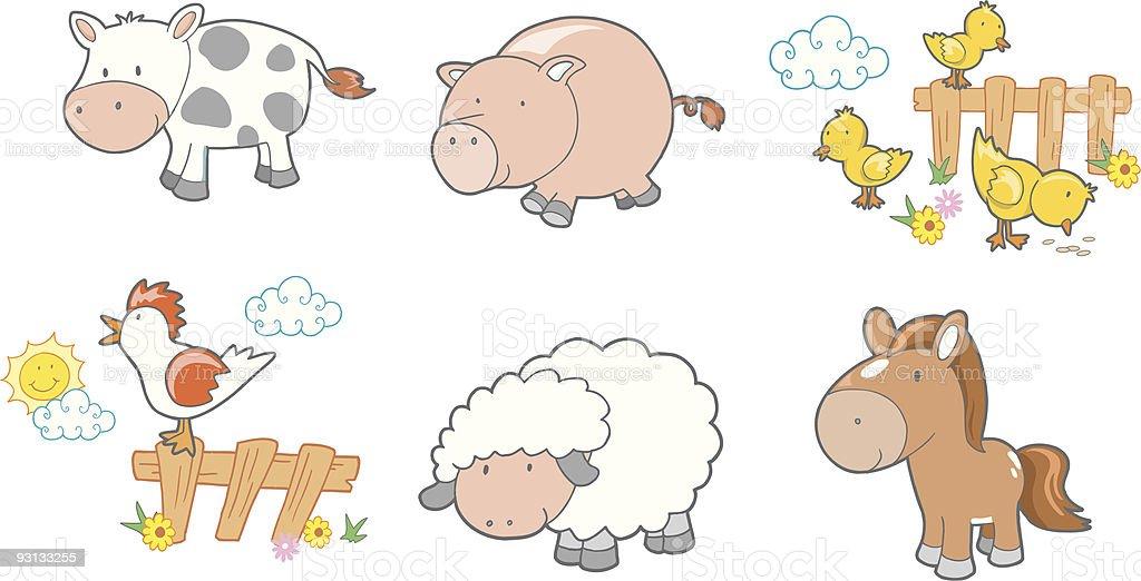Six Cute Farm Animals royalty-free stock vector art