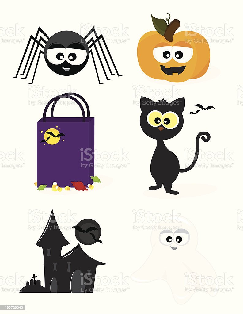 Six Cute Halloween Icons royalty-free stock vector art