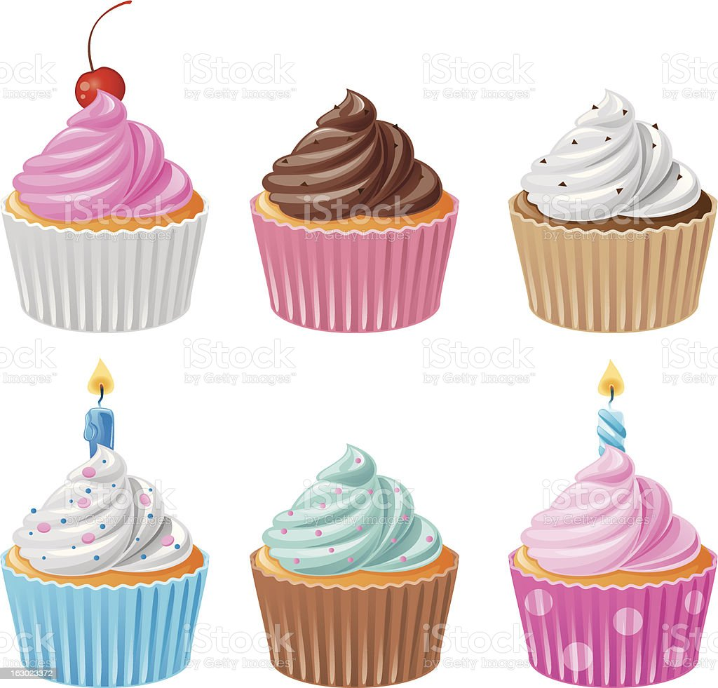 Six delicious cupcakes - Set 1 vector art illustration