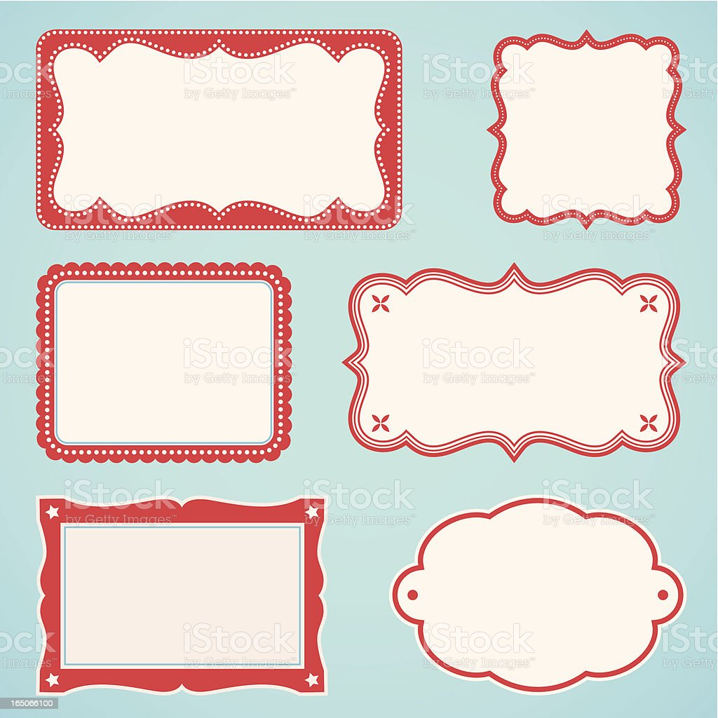Six different book plates, frames vector art illustration