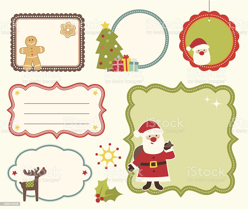 Six different Christmas frames royalty-free stock vector art