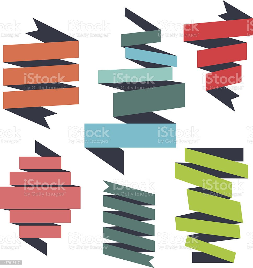 Six different colored ribbons royalty-free stock vector art