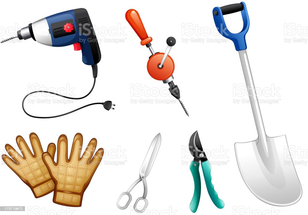 Six different kinds of construction tools royalty-free stock vector art