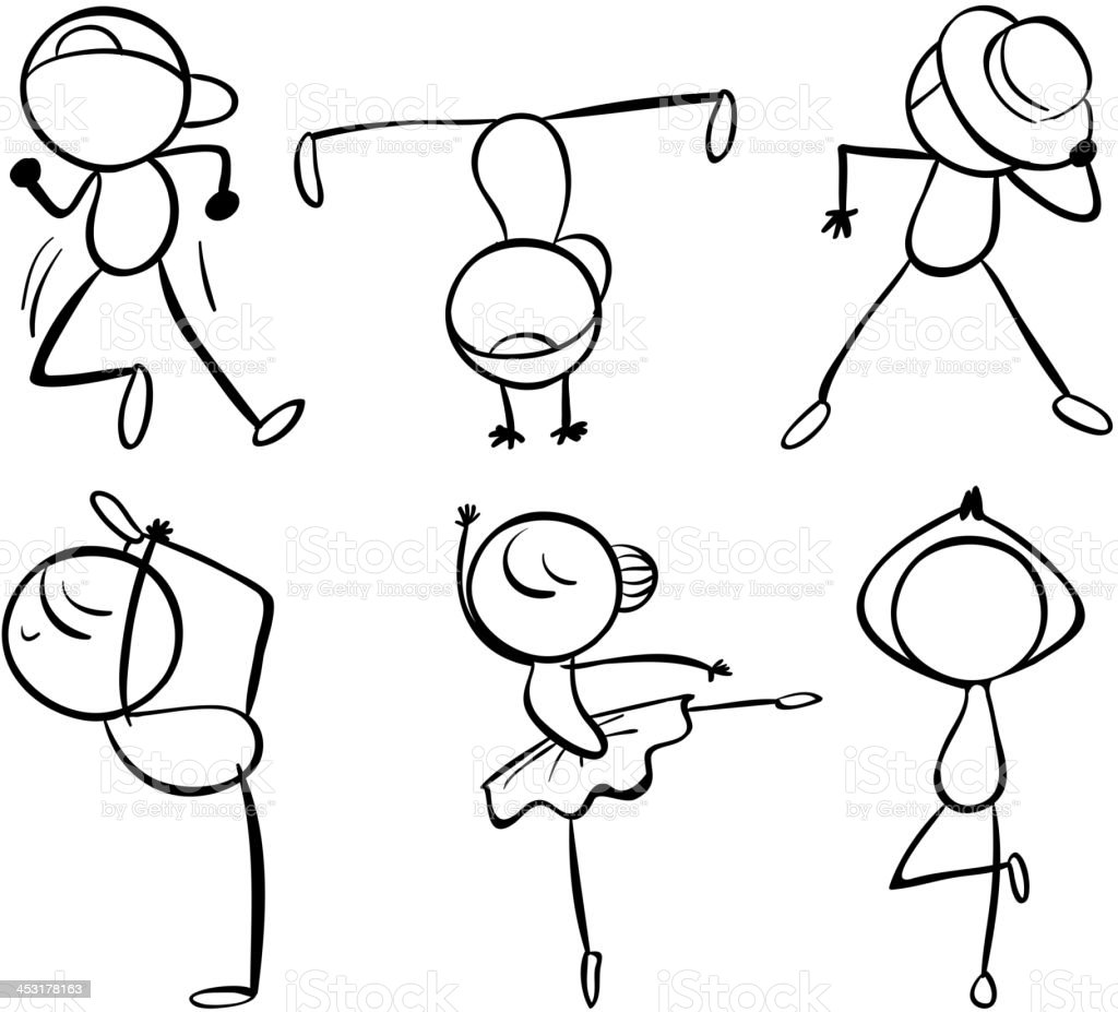 Six different kinds of dance moves royalty-free stock vector art