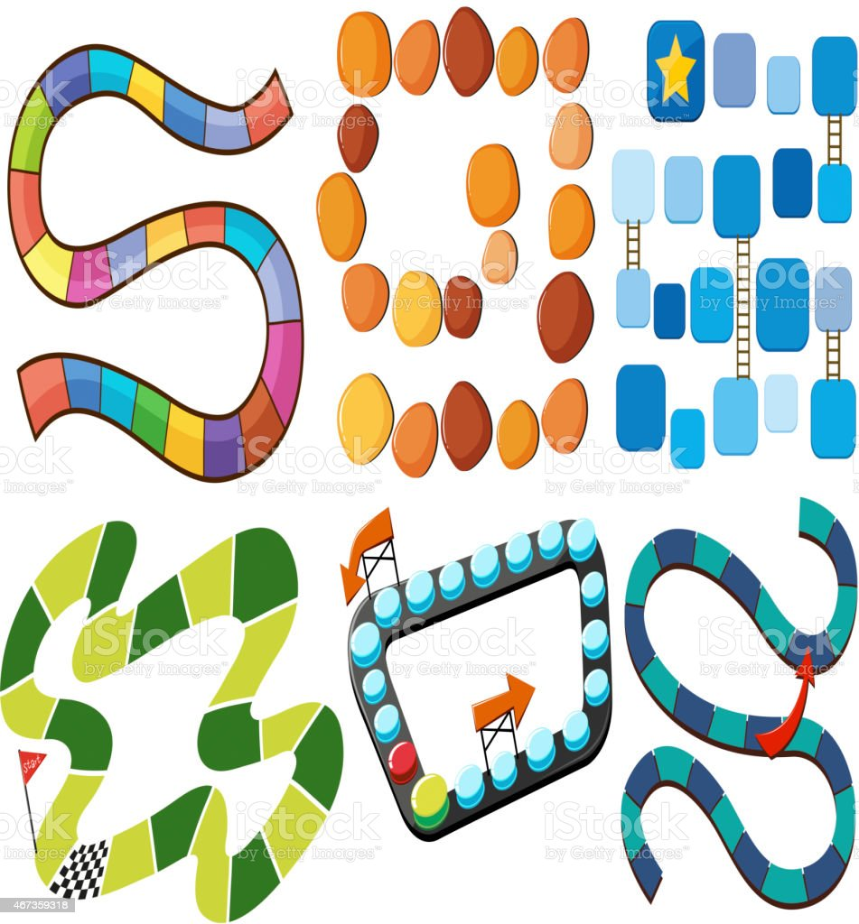 Six different kinds of maze tracks vector art illustration