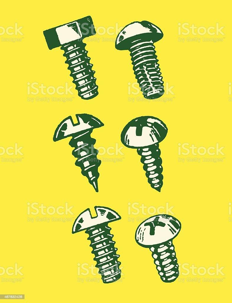 Six Different Screws vector art illustration