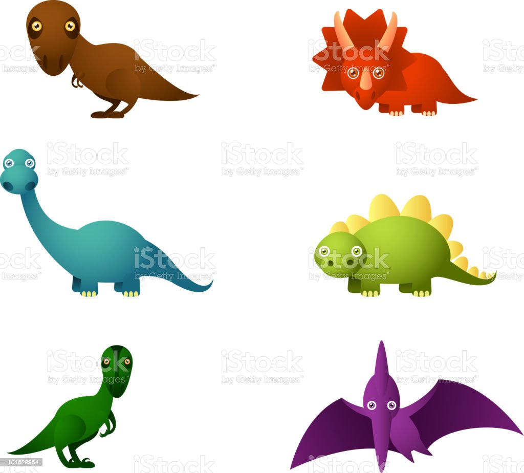 Six Dinosaur set royalty-free stock vector art
