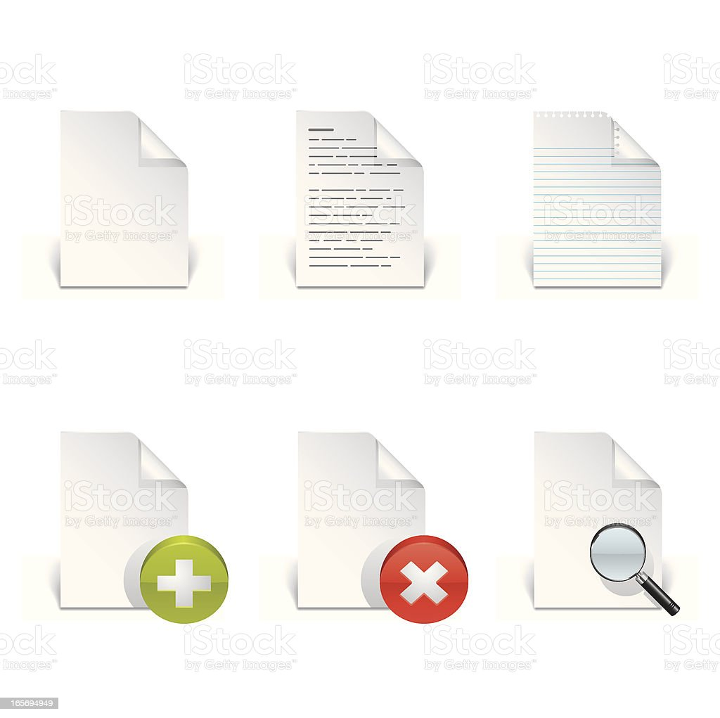 Six document files icon set on white background royalty-free stock vector art