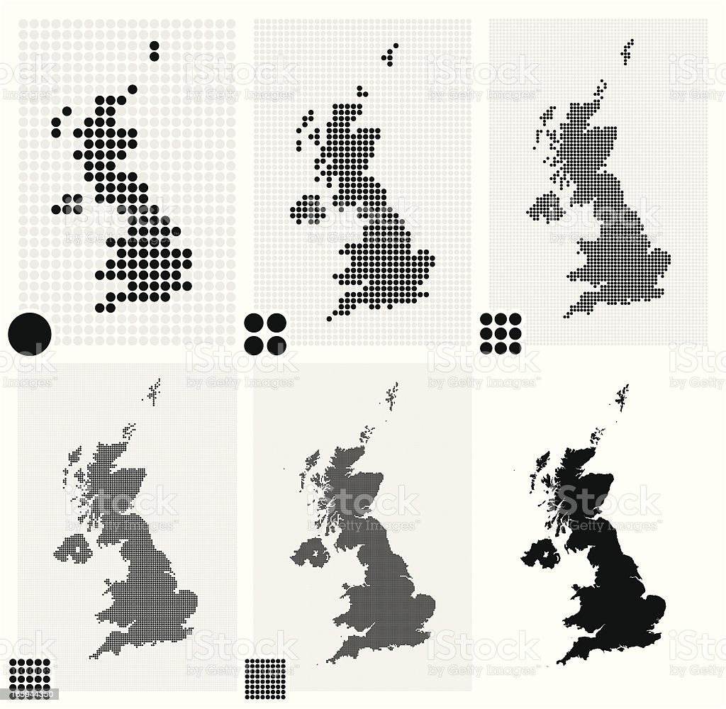 Six dotted maps of United Kingdom in different resolutions vector art illustration