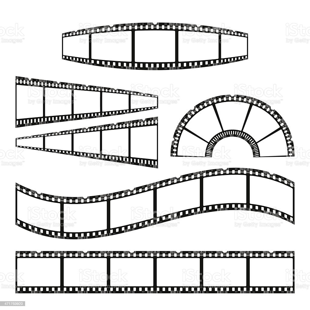 Six drawings of film reels and negatives vector art illustration
