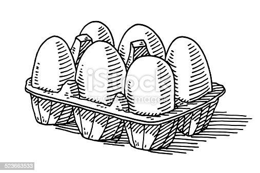 Six Eggs Packaging Groceries Drawing stock vector art