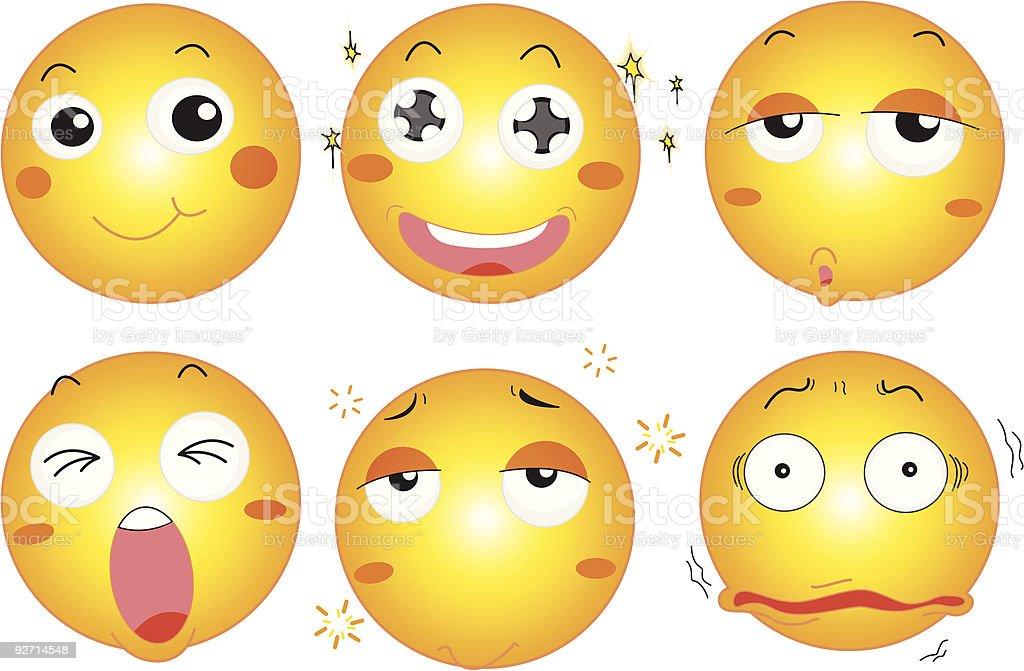 six emoticon royalty-free stock vector art