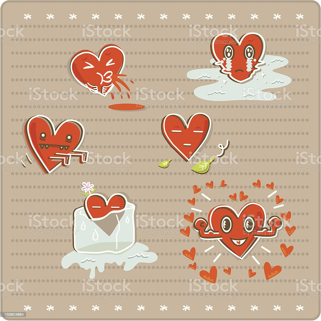 Six emotional heart icons royalty-free stock vector art