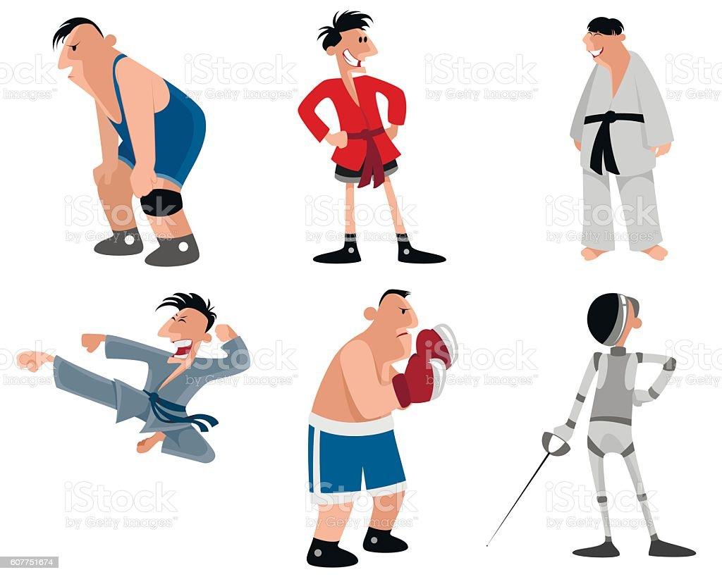 Six fighters set vector art illustration