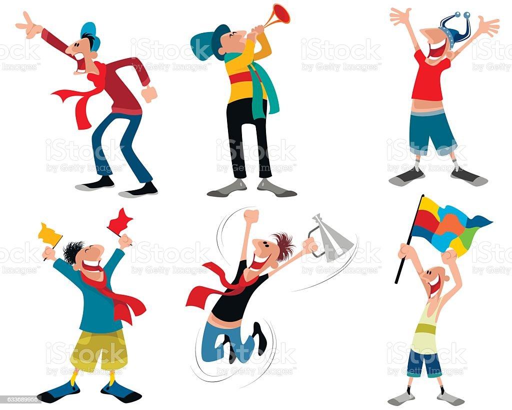 Six football fans vector art illustration